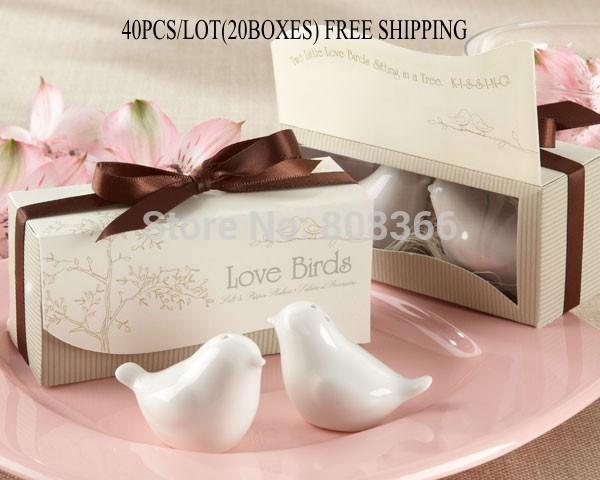 Wholesale-40pcs/lot(20boxes) Love birds ceramic Salt and Pepper shaker Wedding Favors for Cheapest Wedding gift Free shipping