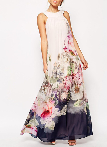 Chiffon floral sleeveless maxi shift dress