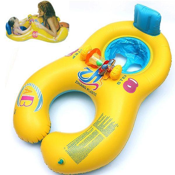 Aufblasbare Baby Schwimmen Neck Ring Mutter und Kind Schwimmen Kreis Doppel Schwimmringe Float Sitz Piscine