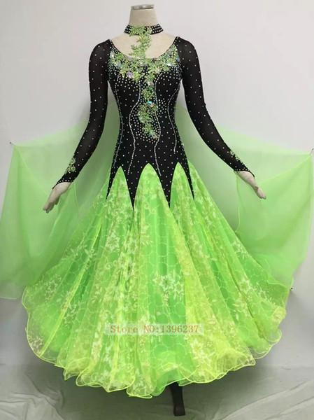 Ballroom Dance Dress Women Custom Made Competition Dancing Costume Sparkle Glass Stone Standard Ballroom Waltz Flamenco Dresses