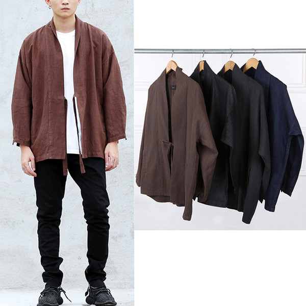 Wholesale- 2016 japan hip hop fashion windbreaker coat kanye west stage wear mens european clothing black/brown linen denim kimono jacket