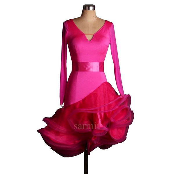 Women Latin Dress for Ballroom Dancing Latin Jurk Clothes for Salsa Rumba Tenue Danse Adulte Grande Taille Hot Pink D0494
