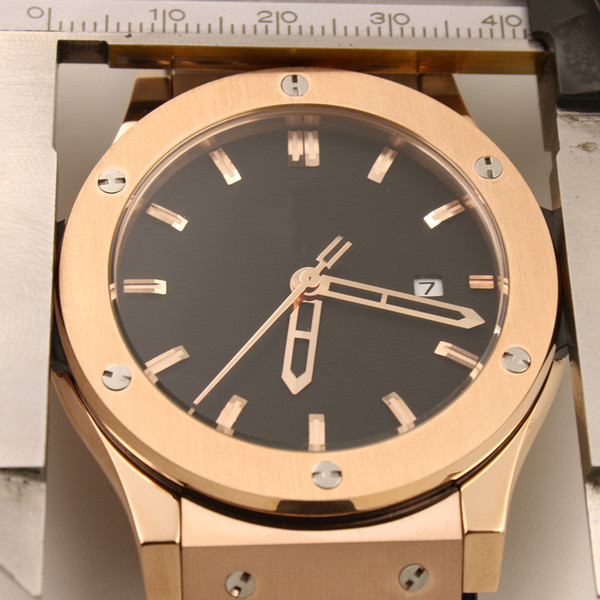 High Quality Top 42MM Classic Mens Watches Automatic Mechanical Watches Transparent Back Rose Gold Case With Black Rubber Band Strap