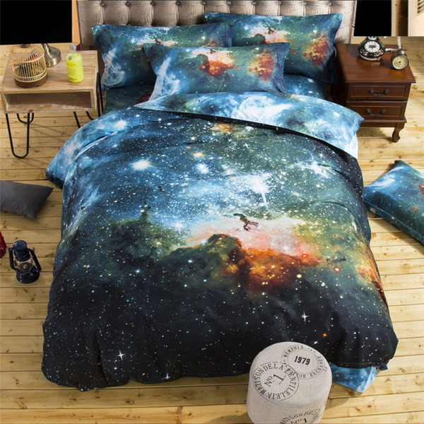 Wholesale- Free Shipping 2016 New 4/3pcs Galaxy 3D Bedding Sets Universe Outer Space Duvet cover Bed Sheet / Fitted Bed Sheet pillowcase