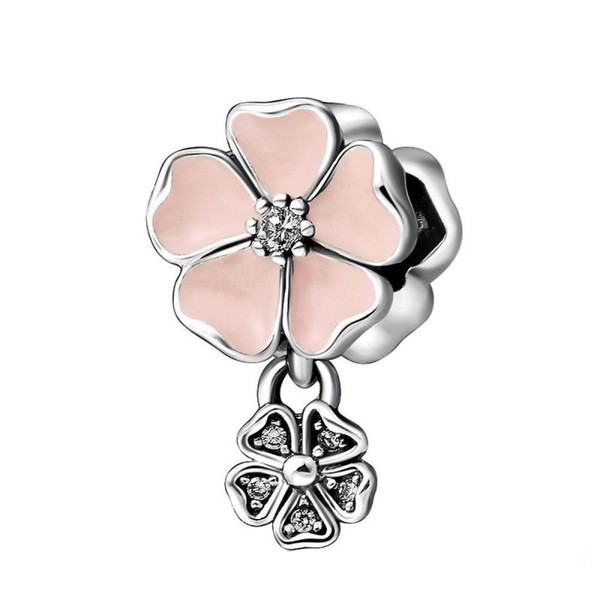 Poetic Blooms Charms Bead Authentic 925 Sterling-Silver-Jewelry Crystal Pink Enamel Flower Bead For DIY Brand Bracelets Making Accessories