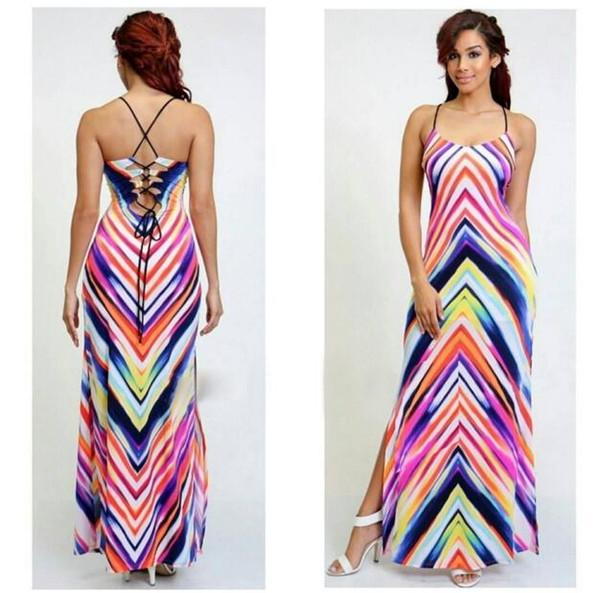 Summer Women Striped Sling Dress Sexy Printing High Split Dress Fashion Bohemia Female Harness Long Dress