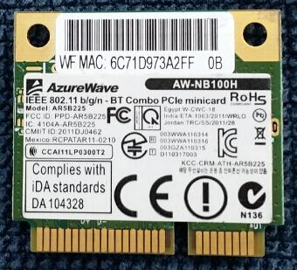 Wholesale- AzureWave AW-NB097H AW-NB100H AW-NB126H AR9485 AR3012 AR5B225  300Mbps Half Mini PCI-Express BT4 0 Wlan Wireless Wifi Card