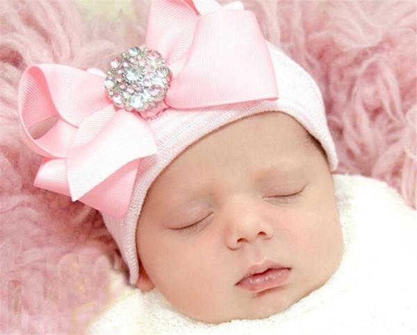 0-6M Bebé recién nacido Crochet Raya sombreros con Big Grosgrain Arcos Niña Brillante Rhinestone Tejer Gorras de algodón Otoño Invierno Cálido Cap BH05