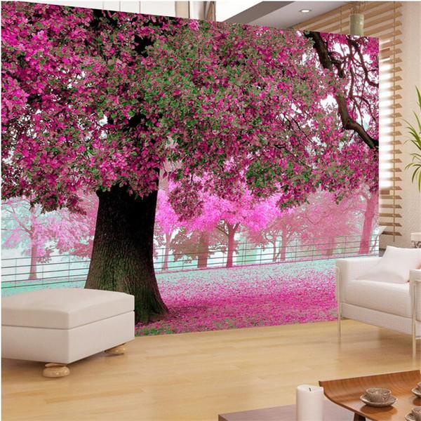 Оптовая продажа-фото обои для гостиной телевизор диван теплый романтический фиолетовый вишня цветет дерево фреска обои-3D живопись