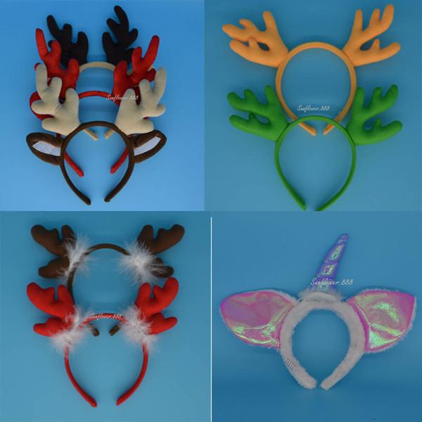 Al por mayor-Navidad niños mujer pluma reno Elk cuernos Cuerno Navidad diadema carnaval fiesta boda accesorios para el cabello