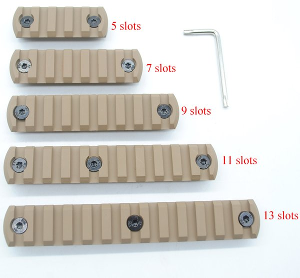Tan Color Printed Aluminum 5,7,9,11,13 Slots Picatinny/Weaver Rail Sections for Key Mod Handguards System Free Shipping