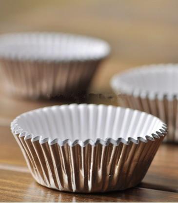 Cupcake Liners Silver Aluminium Foil Cupcake Liner Bulk High Temperature Baking Greaseproof Paper Mini Muffin Cupcake Wrappers