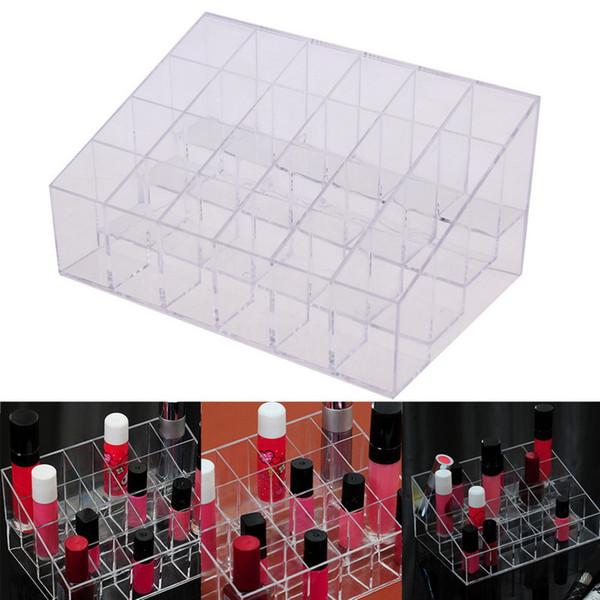 Großhandel-24 Lippenstift Halter Display Ständer Clear Acryl Cosmetic Organizer Make-up Fall Diverse Lagerung Make-up Veranstalter UB #