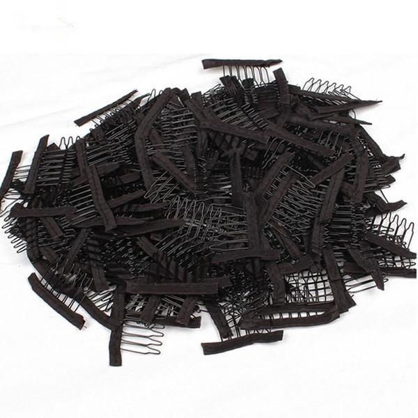 500 pcs Preto Marrom Peruca Combs Para Fazer Perucas 6 Dentes Grampos de Cabelo Em Aço Inoxidável Pentes de Cabelo Profissional Acessórios Ferramentas DHL Frete Grátis