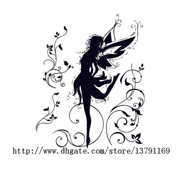Dancing Fairy Ballerina Silhouette Peel and Stick Removable Wall Decals Girl Wall Sticker for Bedroom Living Room