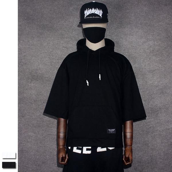 Oversize T-shirt Hood Half Sleeve T shirt Solid Black/White FEAR OF GOD Brand Clothing Hip Hop Short Tshirt Men Tee Kanye