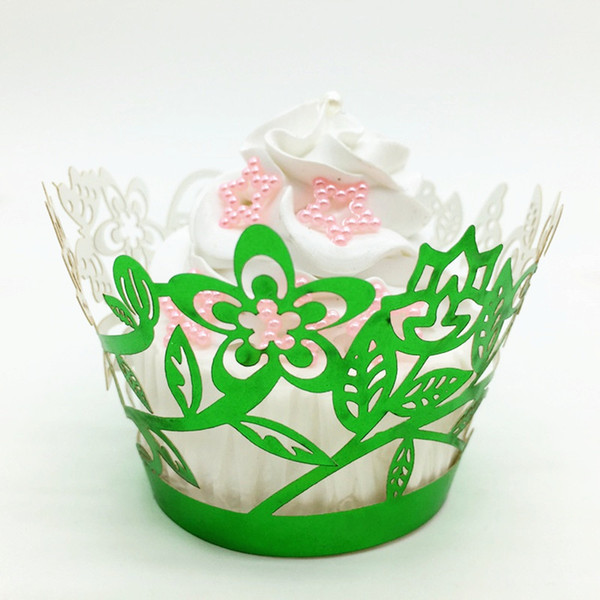 Vintage birthday cupcake wrappers green flower lace cupcake wrapping cake boxes party favors wedding supply wholesale