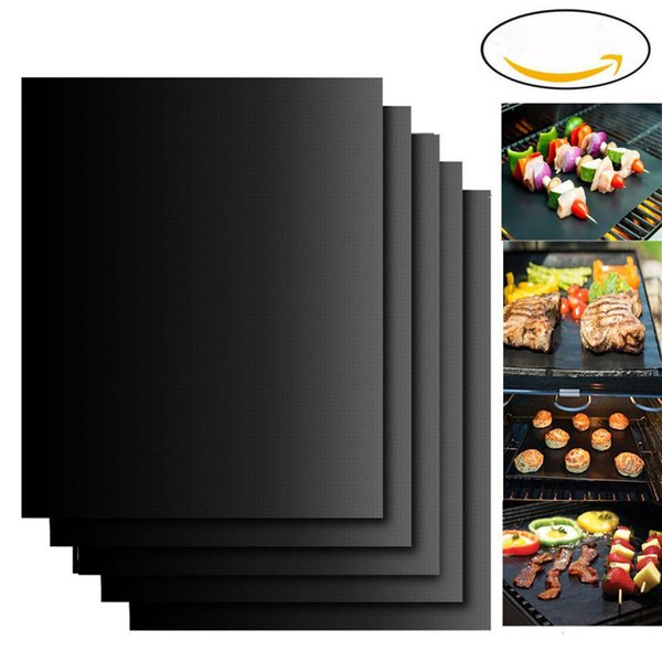 top popular 33*40cm BBQ Mat Grill Mat Non-Stick Reusable BBQ Cover Cooking Baking Microwave Mats Resuable Barbecue Sheet Pad Heat Resistance Grill Mat 2021