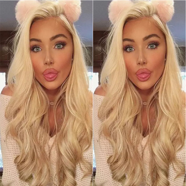 Full Lace Human Hair Wigs Blonde 613 Peruvian Hair body wave Gluless Lace Front Human Hair Wig for Black/White Women