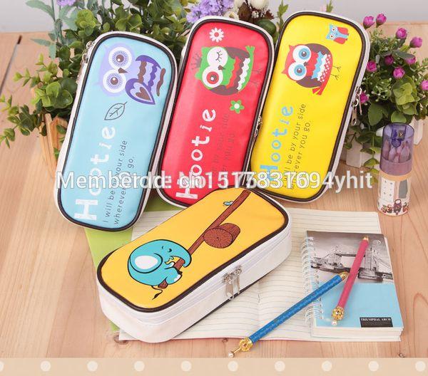 Cute Owl Elephant Large Capacity PU Leather Pencil Case Pencil Box Stationery Storage Organizer Bag