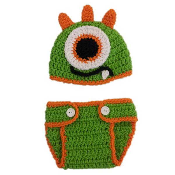Crochet hecho a mano de punto recién nacido Monster Hat y el conjunto de la cubierta del pañal, bebé niño novedad traje animal, niño pequeño Fotografía Prop