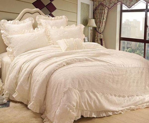 Korean princess Embroidery lace milk pure white wedding Satin Jacquard bedspread bedding sets 4pcs, pillowcase, bed skirt Duvet Cover