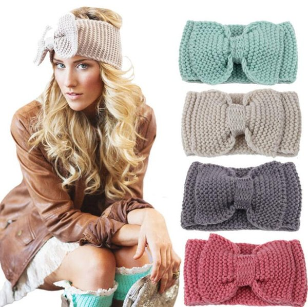 10Pcs/Lot Women Lady Crochet Bow Knot Turban Knitted Head Wrap Hairband Winter Ear Warmer Headband Hair Band 2017 Christmas Style