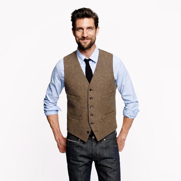 2019 Vintage Brown Groom Vests For Rustic Wedding Tweed Herringbone Mens Suit Vests Slim Fit Men's Dress Vest Custom Waistcoat Adjustable