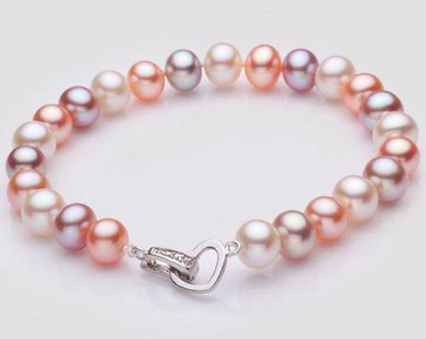 Magnifique 8 -9mm mers du sud blanc bracelet violet rose perle 7.5-8 pouces 925 fermoir en argent