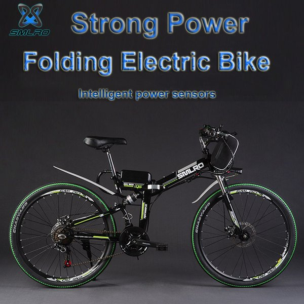 "best selling SMLRO 24"" 48V 350W 500W Folding Electric Bicycle, Electric Mountain Bike, High-carbon Steel MTB E Bike"