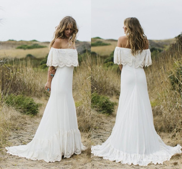 top popular 2017 Off Shoulder Beach Wedding Dresses Lace Sheath Sweep Train Country Chiffon Boho Bridal Gowns Cheap Custom Made 2019