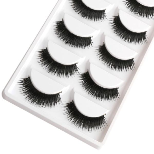 Wholesale- Saleing False EyeLashes 1 Box 5 Pairs Thick Black False Eyelashes  Tips Natural Smoky  Long Fake Eye Lashes