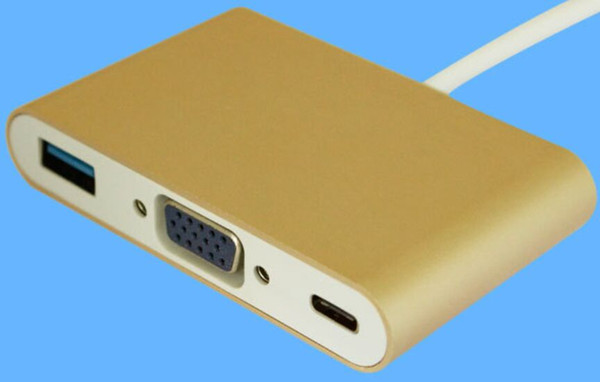 3 in 1 Type C 3.1 Port USB Hub Adapter Cable to USB3.0/VGA Female and PDMultiport Adapter Charger for Macbook