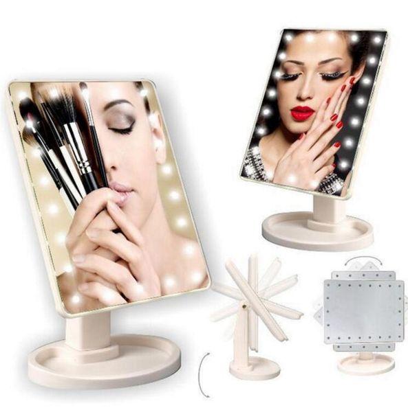 Componga la pantalla táctil de la rotación de 360 grados del espejo Componga el bolsillo compacto portátil plegable cosmético con el espejo de maquillaje ligero de 22 LED KKA2635