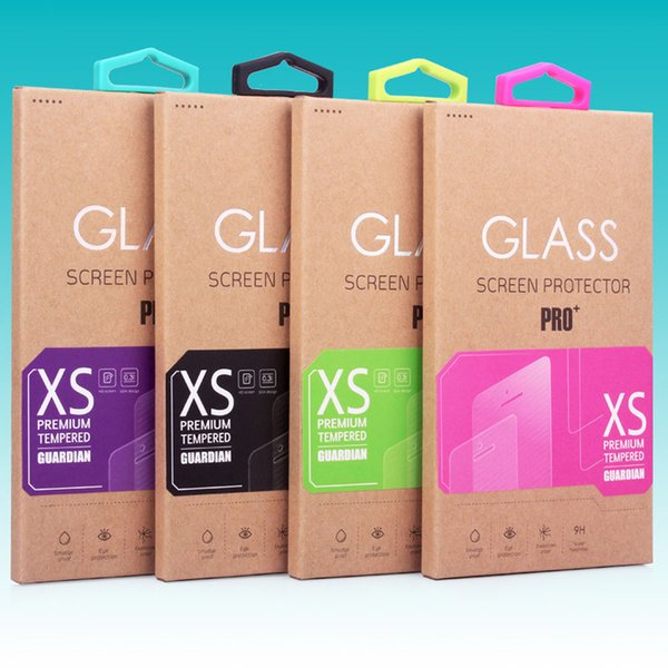 Universal Kraft Paper Retail Packaging Box For iPhone 7 6S Plus Samsung Galaxy S6 S5 Tempered Glass Screen Protectors Package Boxes