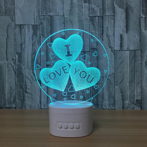 Bluetooth speaker base 3d heart shaped night light LED 5 colors rechargeable acrylic table lamp gift light