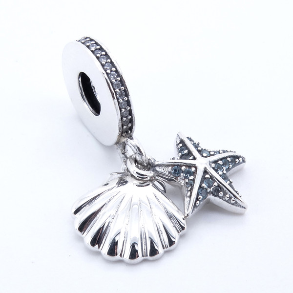 Tropical Starfish Sea Shell Frosty Mint & Clear CZ 2017 Summer 925 Sterling Silver Bead Fit Pandora Bracelet Authentic Charm Fashion Jewelry