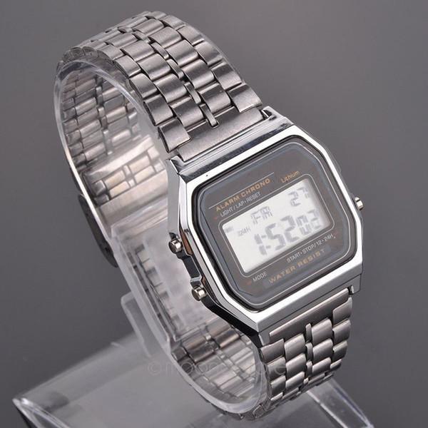Großhandels- NEUE Weinlese-Frauen-Mann-Edelstahl-Quadrat-Qualitäts-LED Digital-Stoppuhr-Armbanduhr relogio masculino geben Verschiffen frei