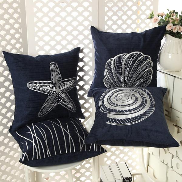 Beach Decor Throw Pillow Case Embroidered Sea Shell Cushion Cover Starfish Almofada Corduroy Marine Home Decoration Patio Chairs With Cushions