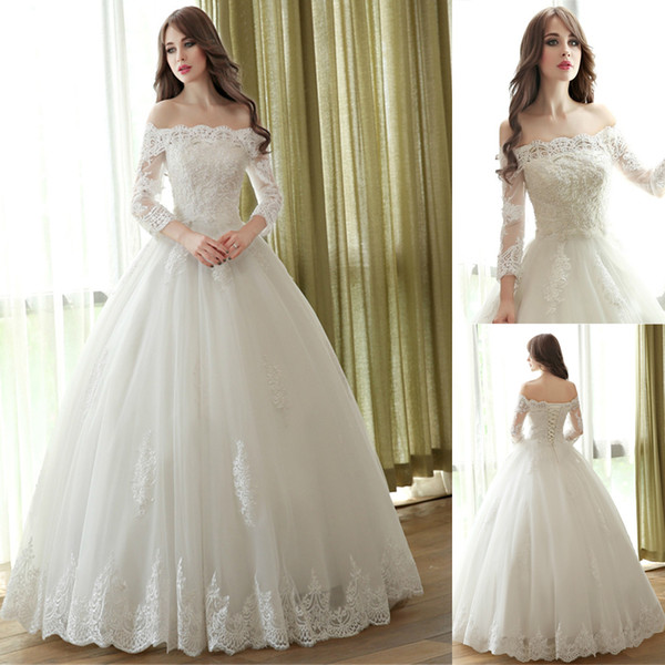 top popular Lace Ball Gown Off the Shoulder Wedding Dresses Boat Neck 3 4 Sleeve Custom Made Plus Size Bridal Gowns Best Quality 2021