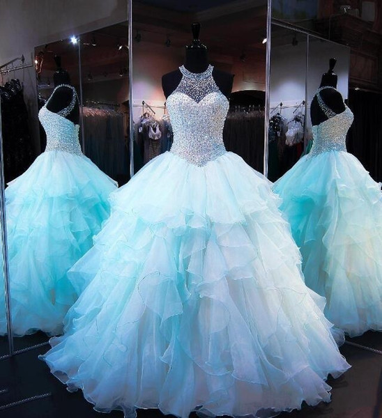 Ruffled Organza Skirt with Pearl Beaded Bodice Quinceanera Dresses 2018 High Neck Sleeveless Lace up Cups Matching Bolero Prom Ball Gown