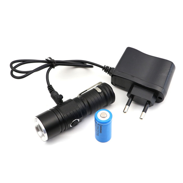 Mini CREE Q5 Portable 16340 Flashlight Torch rechargeable zoom Focusable Zoomable lamp LED penlight with battery and charger