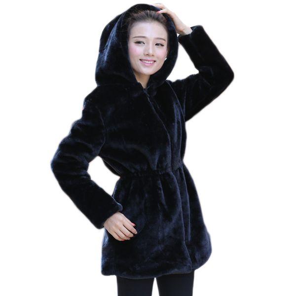 lbd-2017 Women Faux Fur Coat Casual Slim Winter Long Faux Mink Jacket With Hood Black Solid Coats Thick Warm Outwear DX635