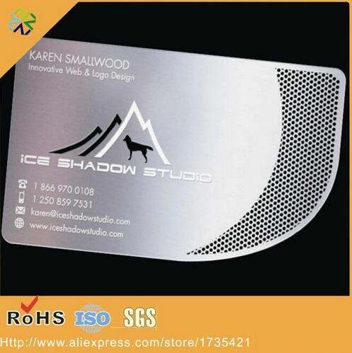 factory price Engraved etching steel metal card/metal business name cards with both side printing