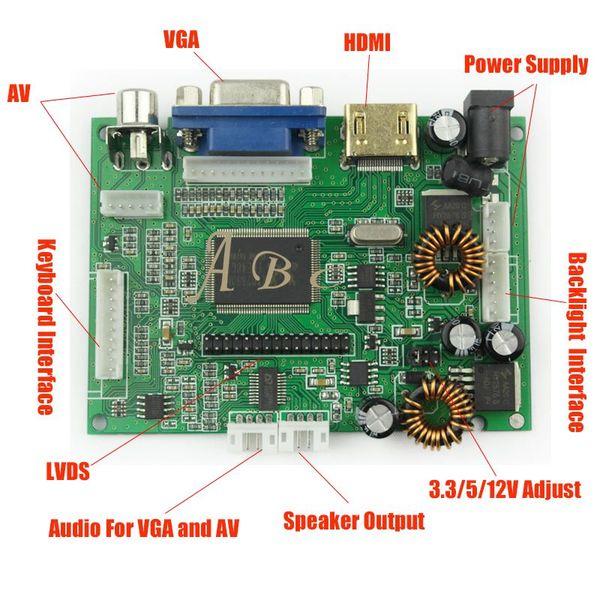 Freeshipping 1 Pc Universal HDMI VGA 2AV Audio Video 30P LVDS Controller Board Module Monitor Kit for Raspberry PI 3 LCD LED Display Panel