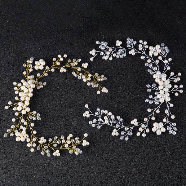 Golden Sliver Bandeaux De Mariage De Tiara Perle Couronne De Mariée Cristal Cheveux Sticks Tête Clips Bijoux Livraison Gratuite