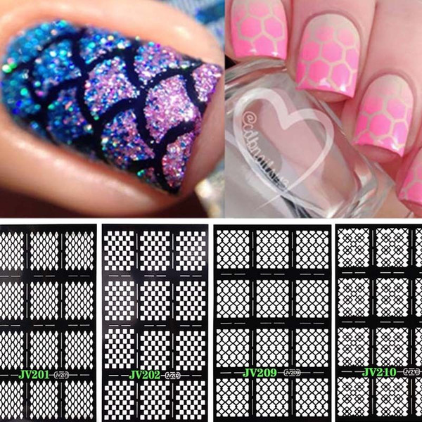 Wholesale- Multiple-Use Stamping Nail Art Hollow Laser Silver Template Stencil Stickers Vinyls Image Guide Polish Manicure 9 Style M02124