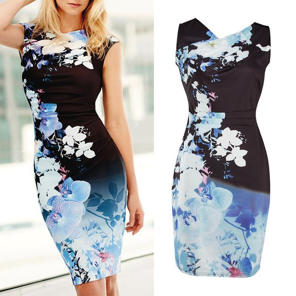 Womens Summer Elegant Flower Floral Printed Sleeveless V-Neck Casual Bodycon Special Occasion Sheath Evening Party Pencil Dress