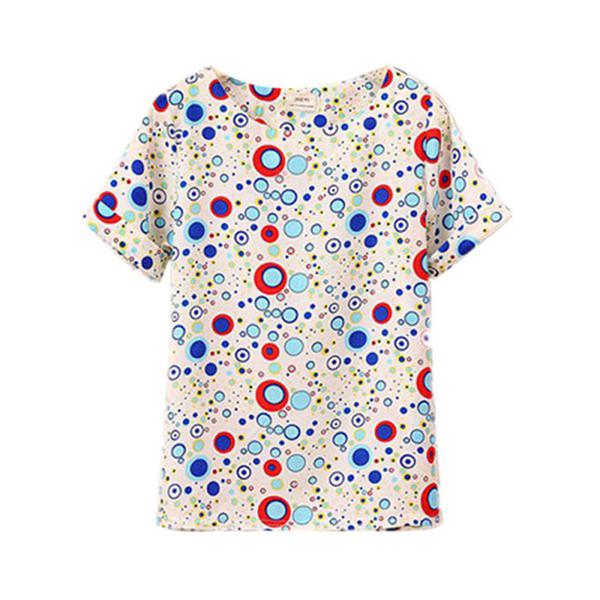 Wholesale- Summer Chic O Neck Bird Printed Women Tops Colorful Short Sleeve Female T-Shirts Batwing Loose Chiffon Shirt Feminino