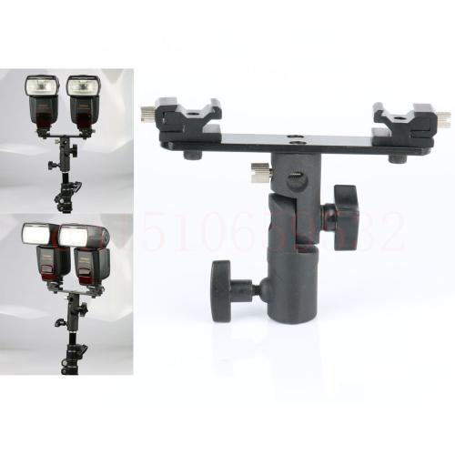 Wholesale-Double Twins Dual Hot Shoe Speedlight Stand Bracket Mount Holder for Flash Light Swivel Lamp Bulb with Umbrella Socket